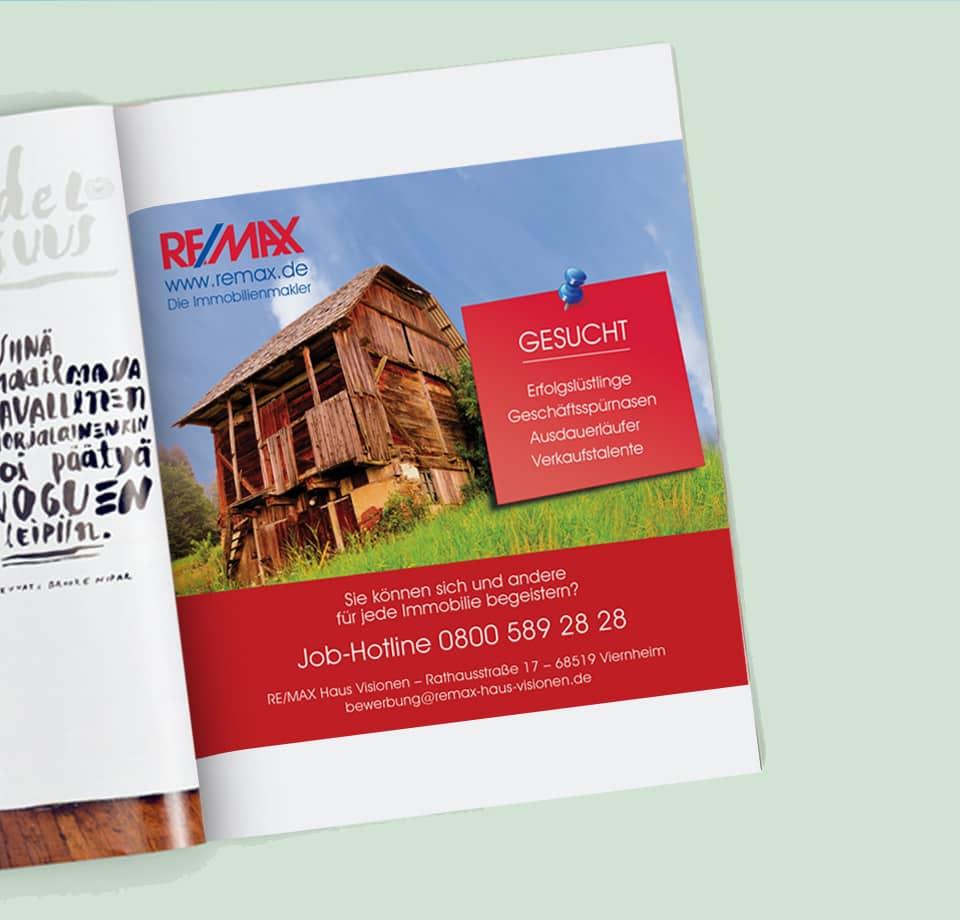 Postkartenserie und Werbeanzeige