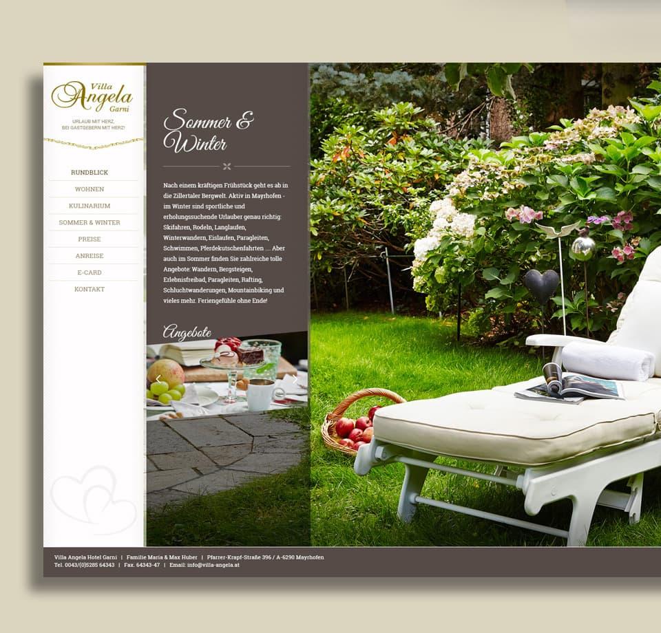Webdesign für Hotel Garni