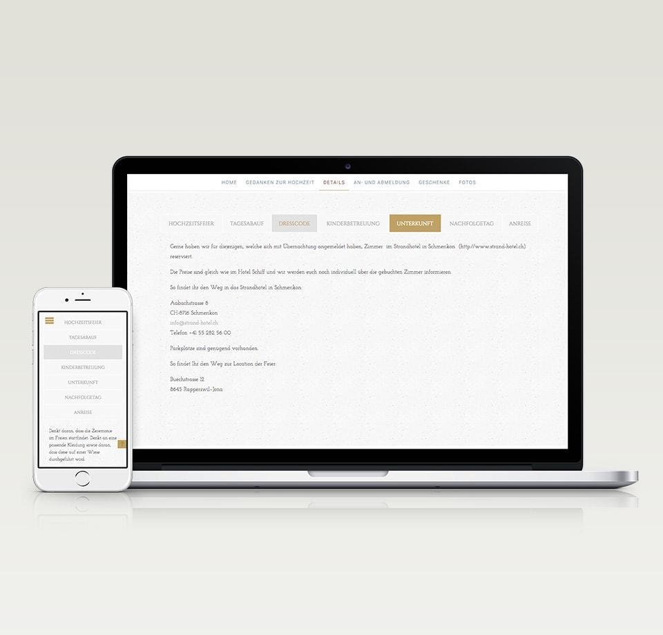 WordPress Webseite für Hochzeit