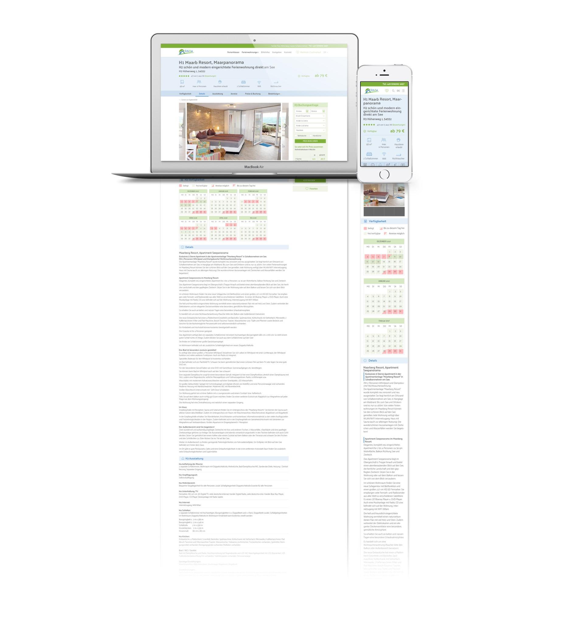 Webdesign für Buchungsplattform Eifel-FeWos